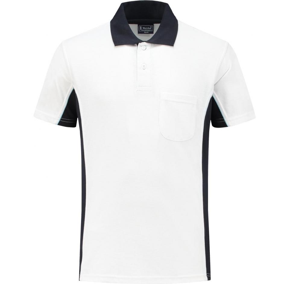 Bi-Colour Polo Shirt (wit/navy)