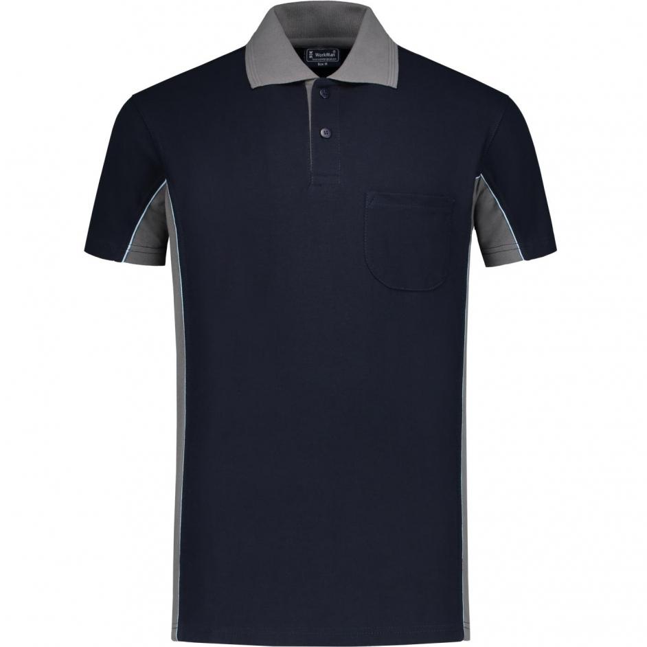 Bi-Colour Poloshirt (navy/grijs)