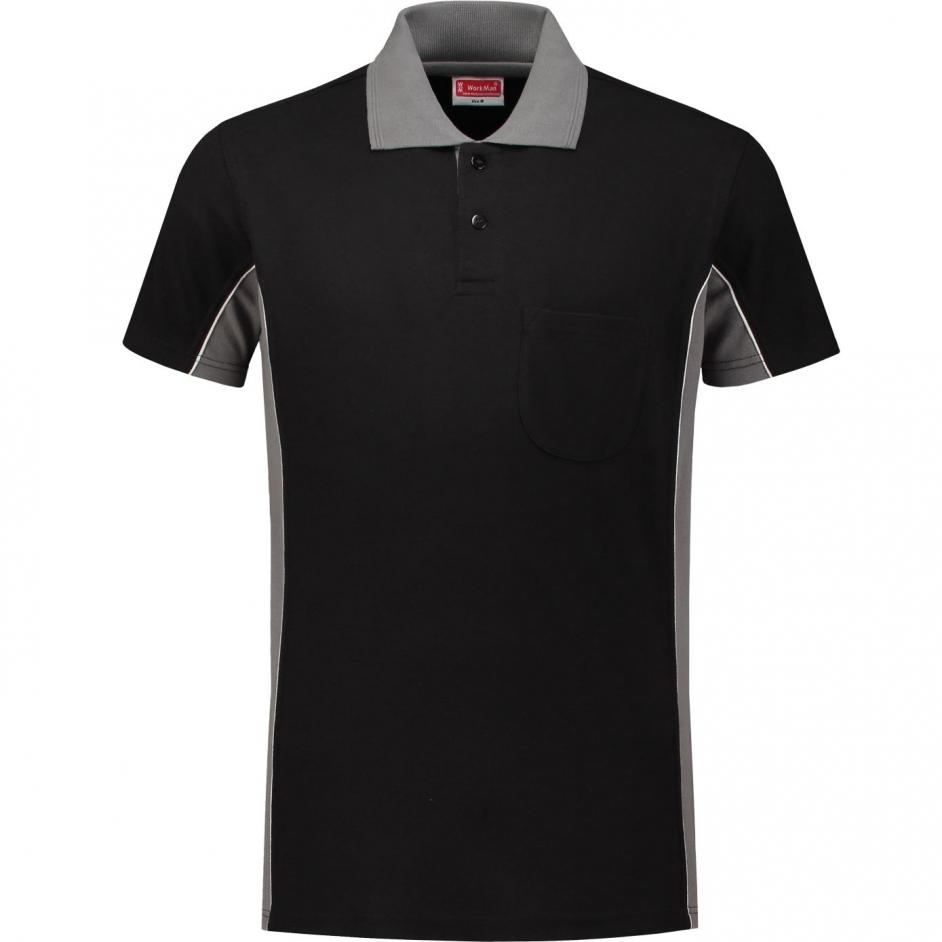 Bi-Colour Poloshirt (zwart/grijs)