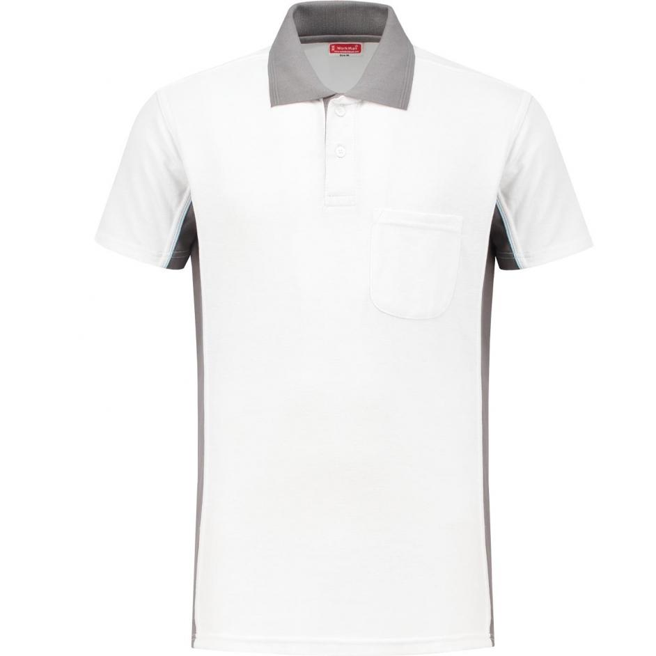 Bi-Colour Poloshirt (wit/grijs)