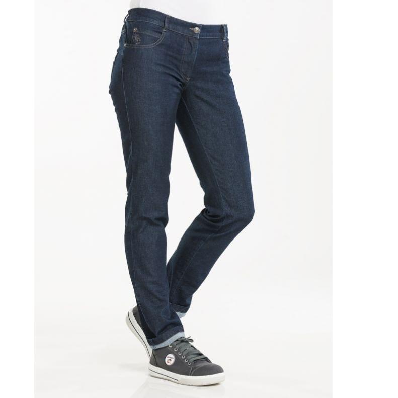 197 Chef Pants Lady Skinny Blue Denim | hippe slim fit jeans broek voor de horeca | Borduren - Bedrukken - Laser graveren