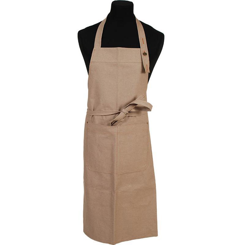 3455 Jeans / Denim halterschort voorzien van een dubbel opgestikte zak met rivetten en een verstelbare nekband