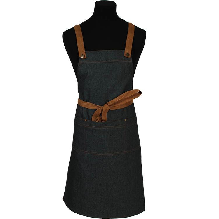 Denim schort met drie vakken en drie setjes kruisbanden in zwart, cognac en oranje. 3818