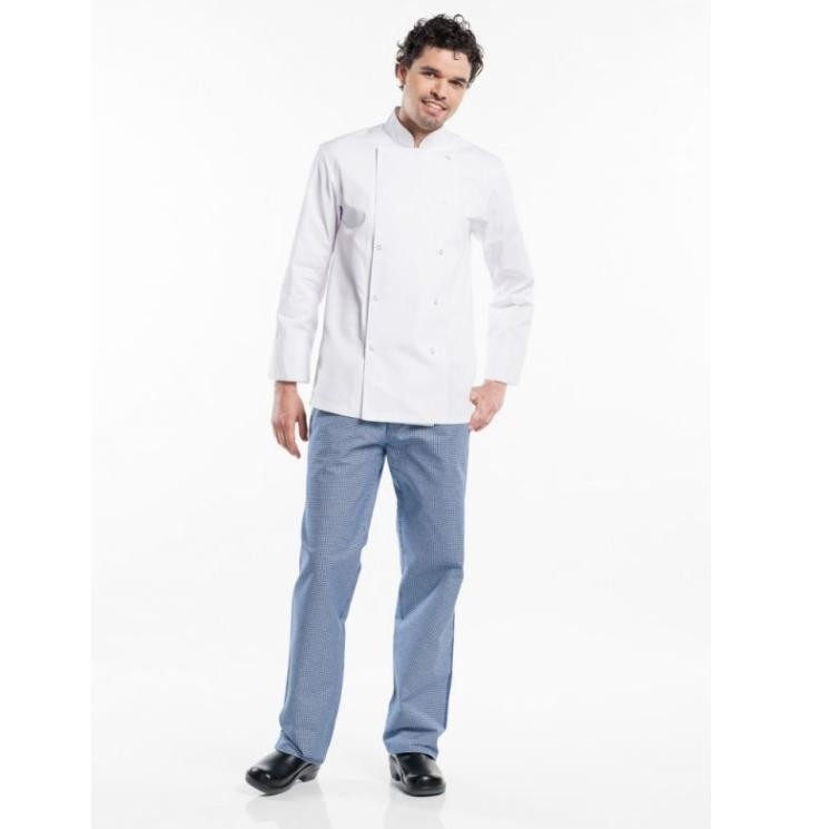 CHEF PANTS PEPITA BLUE 128