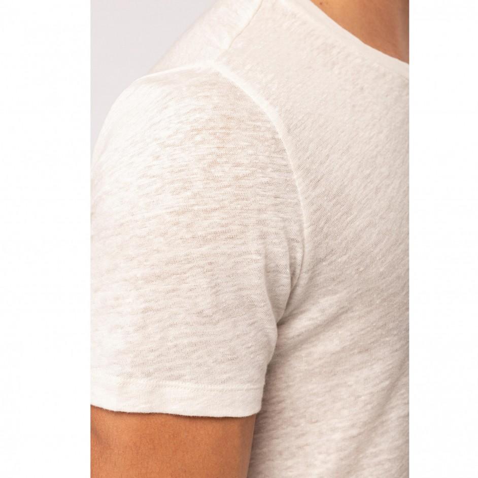 NS320 - Linnen heren-t-shirt korte mouwen en ronde hals