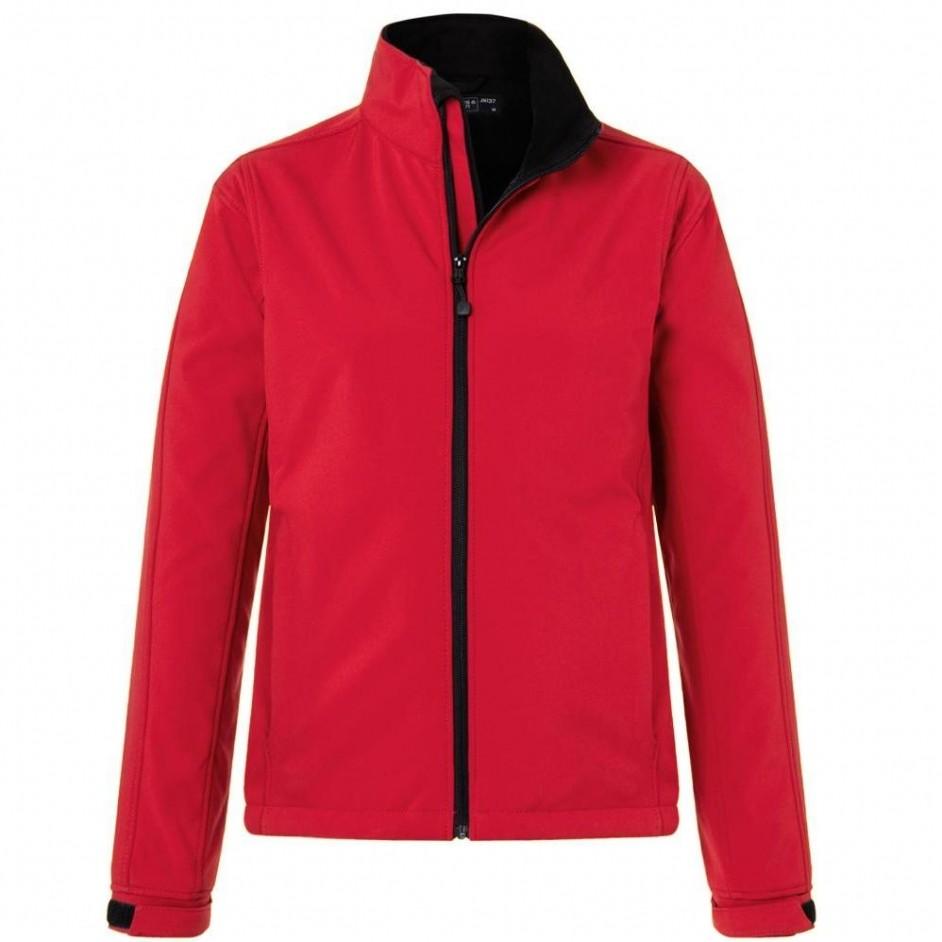 Dames softshell jack rood