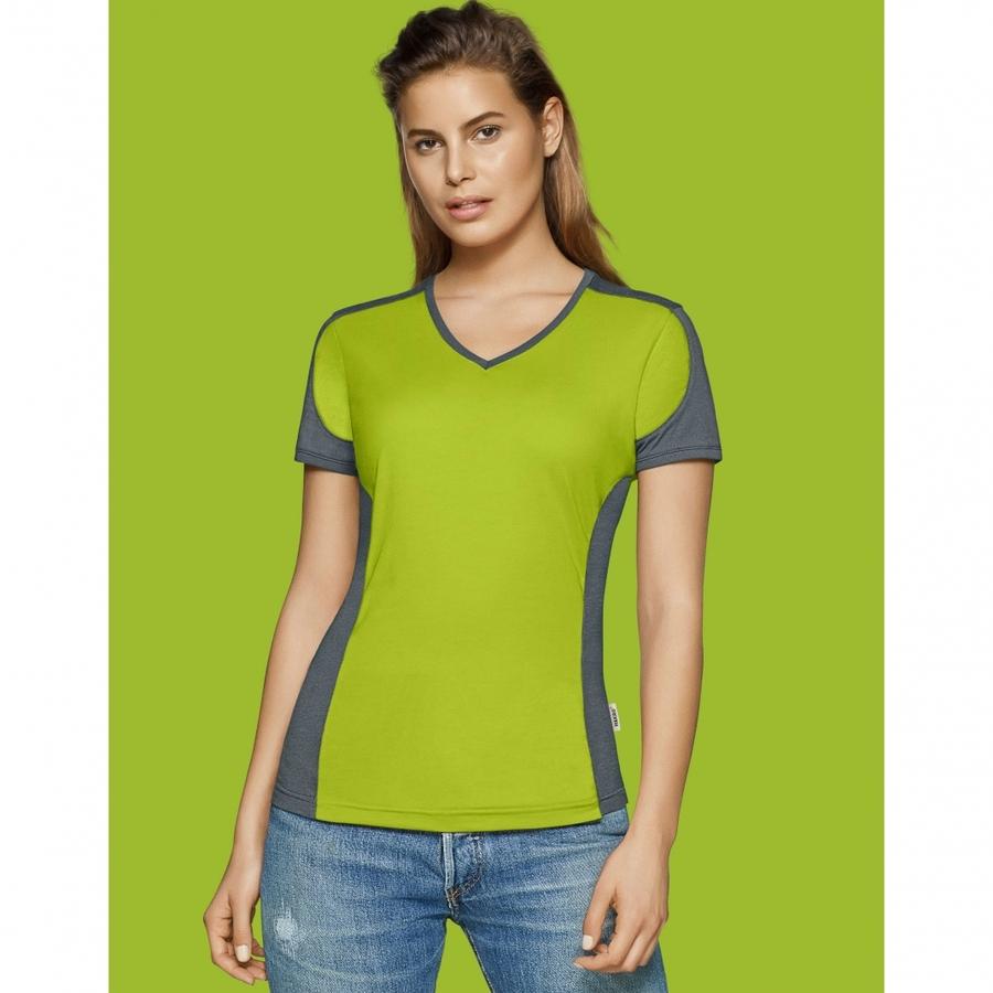 Dames t-shirt met v-hals Hakro 190
