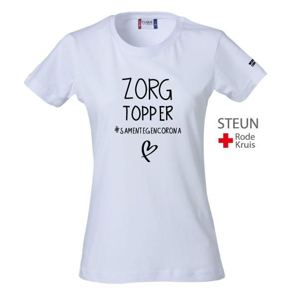 Webshirtcompany #ZORGTOPPER Dames Wit